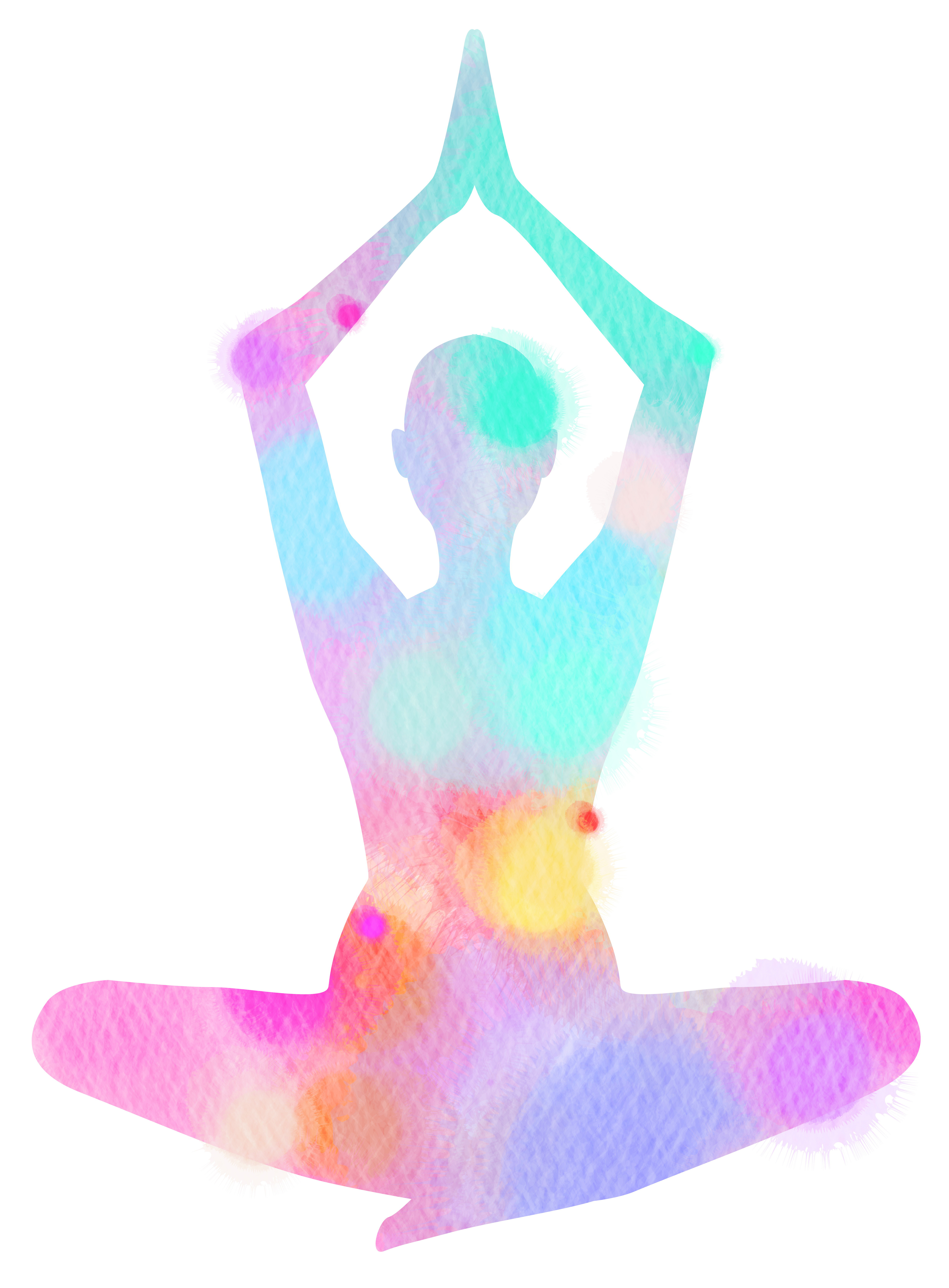 Watercolor yoga silhouette on white background. Digital art pain